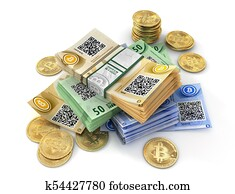 Coin of bitcoin isolated on a white. Mining. 3d illustration