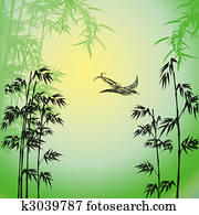 flying bird with trees