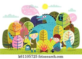Children summer camp fire and storytelling