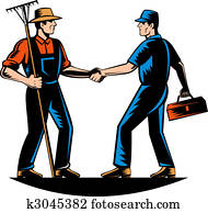farmer and a tradesman, repairman, plumber or handyman shaking hands