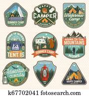 Set of Summer camp badges. Vector. Concept for shirt or logo, print, stamp, patch. Vintage typography design with rv trailer, camping tent, campfire, bear, marshmallow axe and forest silhouette