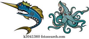 swordfish and octopus
