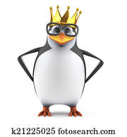 3d Academic penguin wears a gold crown