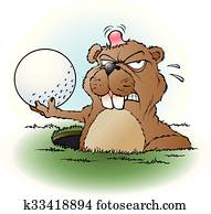 Angry prairie dog with a golf ball
