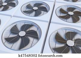 HVAC units (heating, ventilation and air conditioning). 3D rende