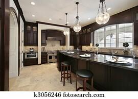 Kitchen with granite island