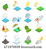 Weather condition icons set, isometric style
