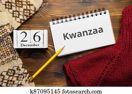 African American holiday kwanzaa day of winter month calendar december