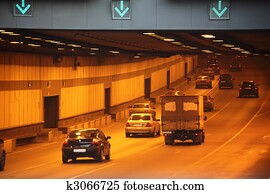 Cars in tunnel