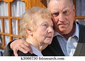 Portrait of elderly couple closeup