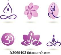 sammlung, von, joga, heiligenbilder