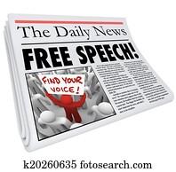 Free Speech Newspaper Headline News Media Journalism Press