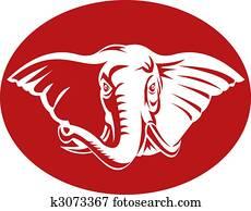 head of an african elephant