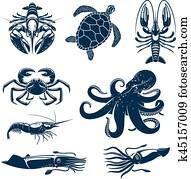 meeresfrüchte, marine tier, symbol, satz, für, essen, design