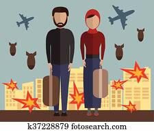 Refugee family. Muslim people. Emigrants. Husband and wife. Civil war in Syria. Vector illustration