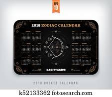 Calendario Zodiaco.Sagittario 2018 Anno Zodiaco Calendario Misura Tasca