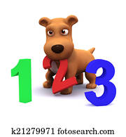 3d Puppy dog learns to count
