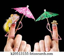 Happy couple of finger puppets