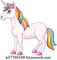 karikatur, regenbogen, einhorn, pferd