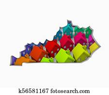 Kentucky KY Homes Homes Map New Real Estate Development 3d Illustration