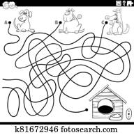 maze with dogs and dog house coloring book page