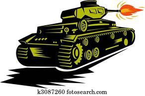 world war two battle tank firing its cannon