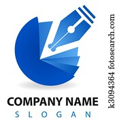 Business logo: a blu pen and inkwell