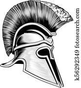 Spartan, uralt, griechischer, trojan, krieger, helm