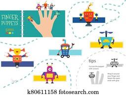 vektor, robotik, als, finger, puppets., schneiden, und, klebstoff, aktivit?t, für, vorschulisch, kinder