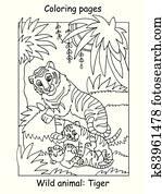 Coloring tiger vector