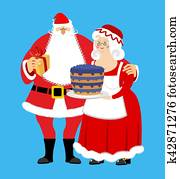Santa and Mrs. Claus isolated. Christmas family. Woman in red dress and white apron. Cheerful elderly. New Year menage.