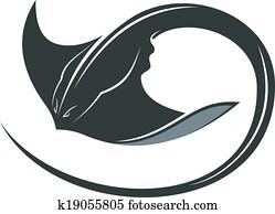 Swimming manta ray