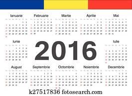 Calendario Rumeno.Vettore Italiano Cerchio Calendario 2016 Clipart