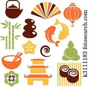 a, satz, von, orinental, und, zen, heiligenbilder