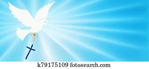 Abstract dove flying and carrying a Christian cross. Christian symbol. Light blue background with bright rays. Easter. Symbol of purity. Christian faith. Baptism. Holy Spirit. Evangelization
