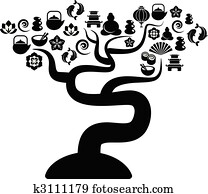 Black and white tree with zen and yoga icons