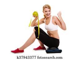 Femme, élévation, elle, bras., Réussi, régime, perte poids