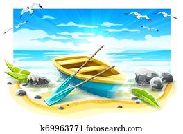 Fishing boat with paddles on paradise island