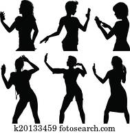 Girl silhouettes taking selfie wit
