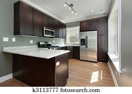 Kitchen with mahogany wood cabinetry