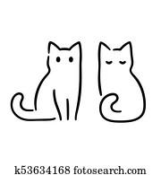 minimal, katz, zeichnung