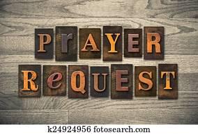 Prayer Request Wooden Letterpress Concept
