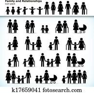 satz, von, familie, pictograms
