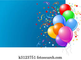 Blue card with colorful balloons