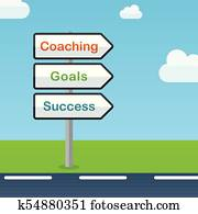 coaching direction signs abstract concept