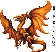 mittelalterlich, dragon., vektor