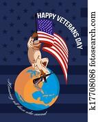 Modern American Veterans Day Greeting Card