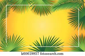 Palm tree leaves sukkot frame
