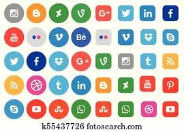 soziales, medien, symbol, sammlung