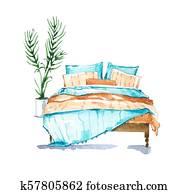 Bedroom, watercolour illustration